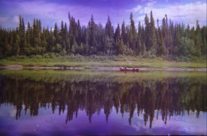 Spruce trees and a red canoe, reflected in the watre