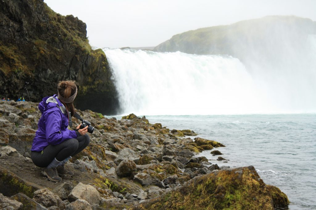Hiking to a waterfall in Iceland