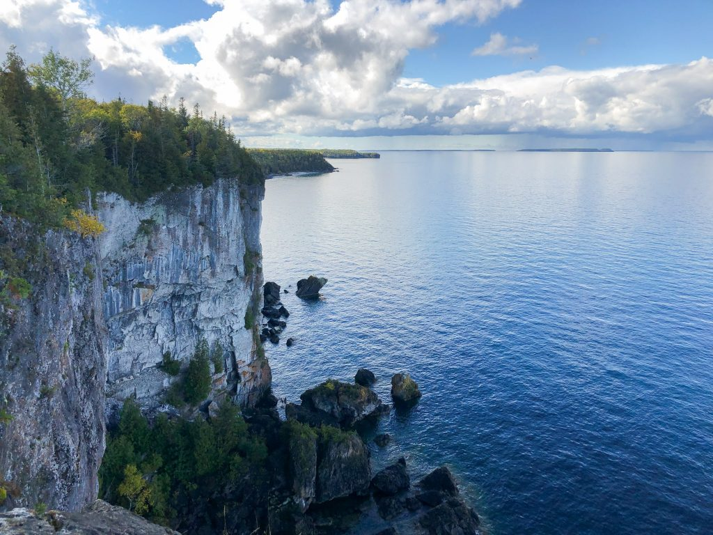 View of a sheer cliff along the coastline of Georgian Bay, along the Bruce Trail.