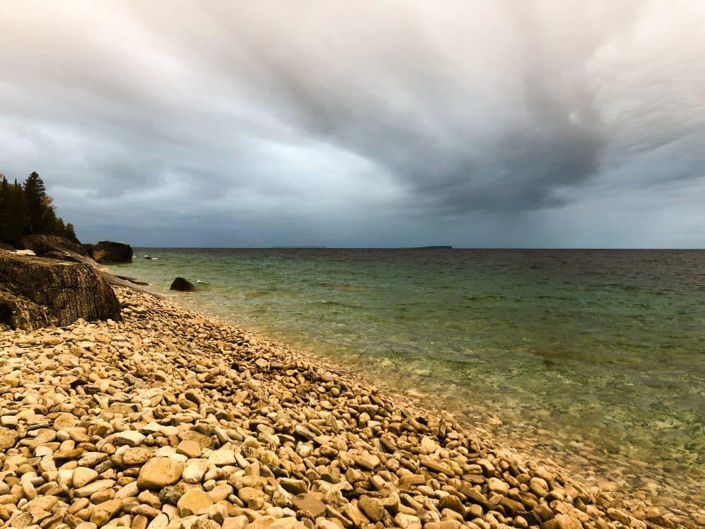 Storm cloud over Georgian Bay, taken from High Dump camping in Bruce Peninsula National Park.