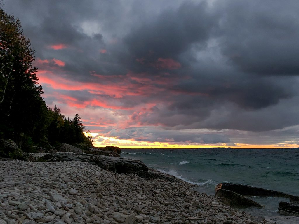 Sunset along the coastline of Georgian Bay, near Bruce Peninsula camping site High Dump