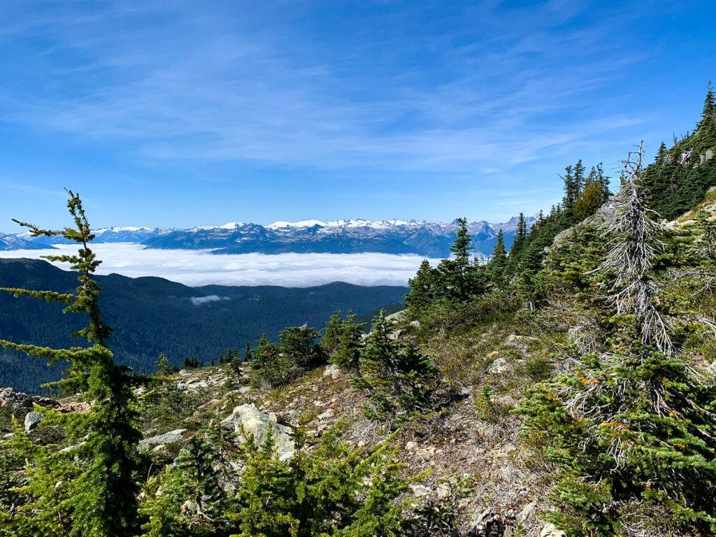 View of inversion clouds on Half Note to High Note hiking trail near Vancouver