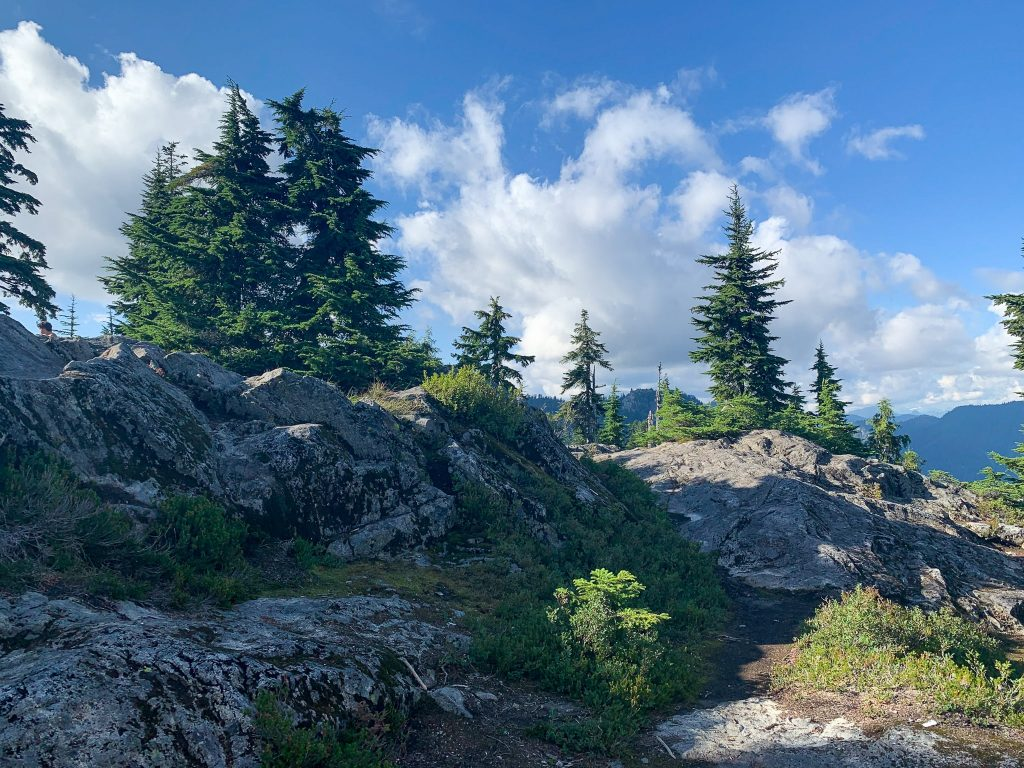 View of mountains from the top of Mount Fromme hiking trail in Vancouver