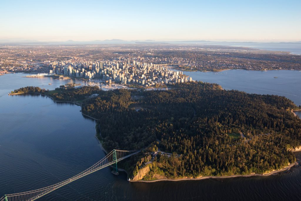 Arial view of Stanley Park in Vancouver British Columbia