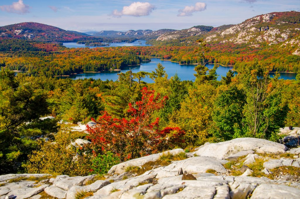 View of blue lake, white La Cloche Mountains and autumn leaves in Killarney Provincial Park