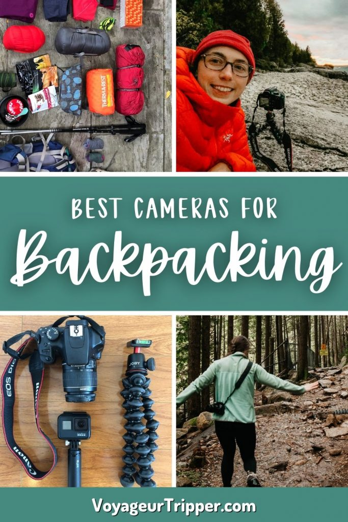 Pin image for best cameras for backpacking and hiking.