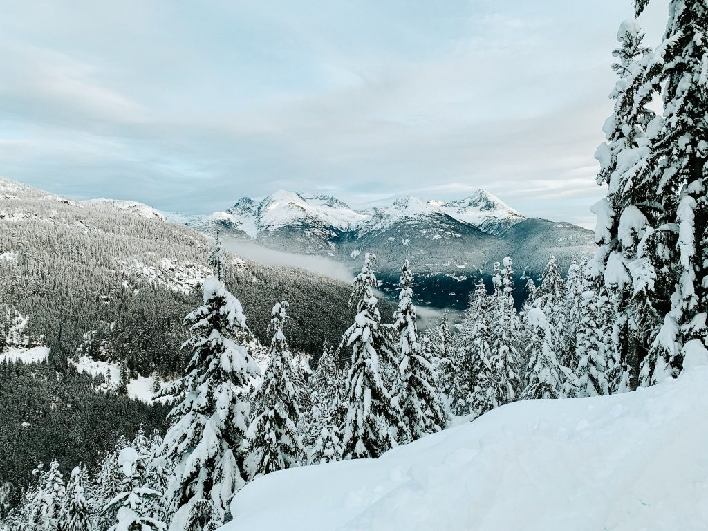 Winter hiking near Whistler BC. Snowy trail with pine trees and snow-covered mountains in the distance.